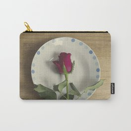 Red rose on a plate Carry-All Pouch