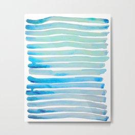New Year Blue Water Lines Metal Print