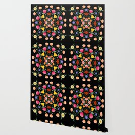 Folk Art Inspired Garden Of Fantastic Floral Delight Wallpaper