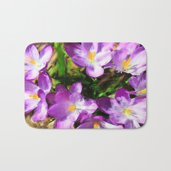 Spring In the Air - Painterly Crocuses Bath Mat