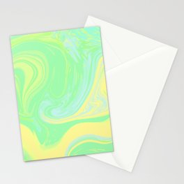 Lime Green Marble. Digital Suminagashi Liquid Color Abstraction Stationery Cards