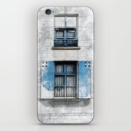 Architect Drawing of Blue Wooden Windows iPhone Skin