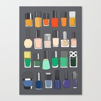 nail polish Canvas Prints featuring Nail polish collection 2 by uzualsunday