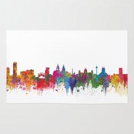 Liverpool seafront city line skyline waterfront watercolour colours colour splash by Evangelos Rug