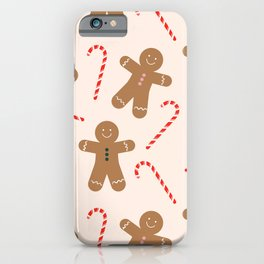 Gingerbread Man + Candy Cane Christmas Pattern iPhone Case