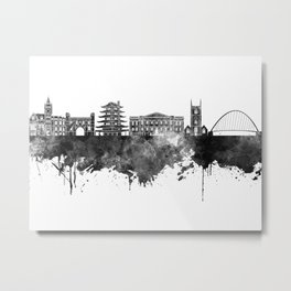 Reading skyline in black watercolor Metal Print