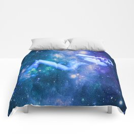 Blue Galaxy Woman : Nude Art Comforters