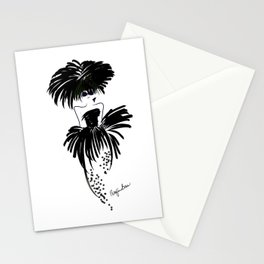 Lady looking chic in black and white at the races Stationery Cards