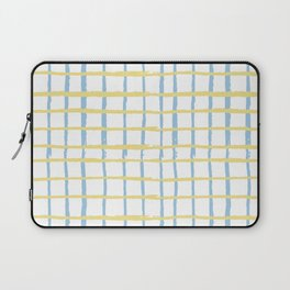Pastel yellow teal watercolor geometrical checker stripes Laptop Sleeve