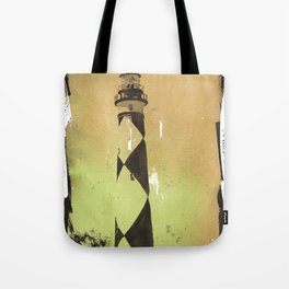 Painting of Cape Lookout lighthouse w/ faux photo border- Outer Banks, North Carolina Tote Bag