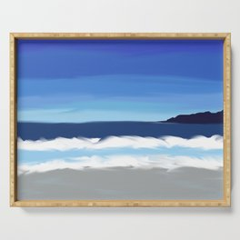 California Coast Abstract Seascape with Waves Serving Tray