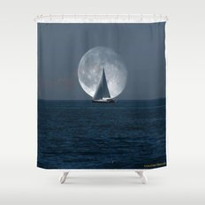 Sailing with a Romance Moon Shower Curtain
