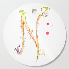 Letter N watercolor - Watercolor Monogram - Watercolor typography - Floral lettering Cutting Board