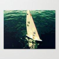 sailboat Canvas Prints featuring Sailboat by Kazumi