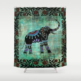 decorated elephant rustic floral design shower curtain