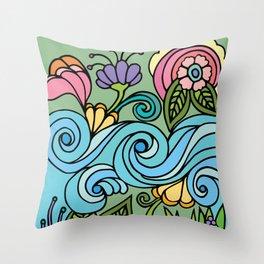 Flower Power & Spiral Waves Throw Pillow