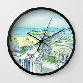 Aerial View of Downtown Long Beach Wall Clock