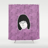 johnny depp Shower Curtains featuring Johnny by Kuki