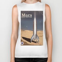 Mars - Travel there today vintage poster Biker Tank