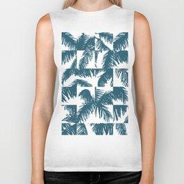 Palm Leaf Pattern Blue Biker Tank