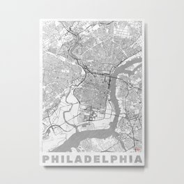 Philadelphia Map Line Metal Print