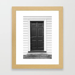 Door with Cobwebs in Black and White Framed Art Print
