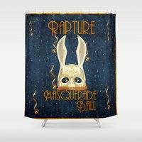 bioshock Shower Curtains featuring Rapture Masquerade Ball 1959 by sgrunfo