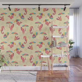 A Chance of Rain - Coral & Cream Wall Mural