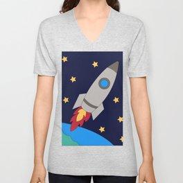 Rocket Drawing Unisex V-Neck