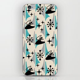 Mid Century Modern Cosmic Boomerang 726 Black Turquoise and Gray iPhone Skin