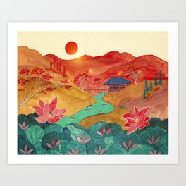 Japanese mountains Art Print