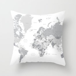 """Gray world map with cities, states and capitals, """"in the city"""" Throw Pillow"""