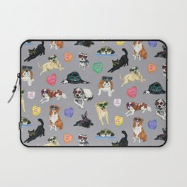 Valentine's Day Candy Hearts Puppy Love - Grey Laptop Sleeve
