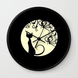 Black cat in the moon Wall Clock