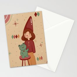 Penelope with her lovely frog Stationery Cards