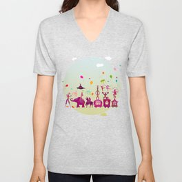 colorful circus carnival traveling in one row during daylight Unisex V-Neck