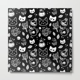 Herb Witch // Black & White Metal Print