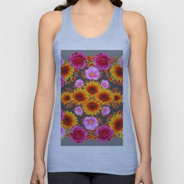Charcoal Grey Red Pink Roses Golden Sunflowers Yellow Art Unisex Tank Top