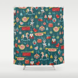Teal Christmas Ornament Pattern Shower Curtain