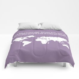 World Map with Dr. Seuss Quote Comforters