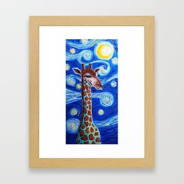 staring night giraffe Framed Art Print