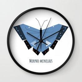 Morpho menelaus Blue Butterfly Wall Clock
