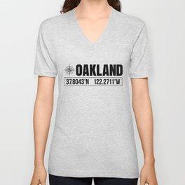 Oakland City GPS Coordinates Souvenir USA Travel Gift Idea Unisex V-Neck