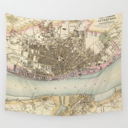 Vintage Map of Liverpool England (1872) Wall Tapestry