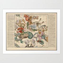 Ignace-Gaston Pardies - Globi coelestis Plate 2: Cetus, Aquarius, Andromeda 1693 Art Print