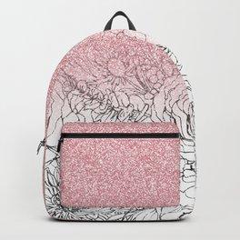 Elegant Floral Doodles Pink Gradient Glitter Image Backpack
