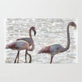 Three Flamingos Watercolor Rug