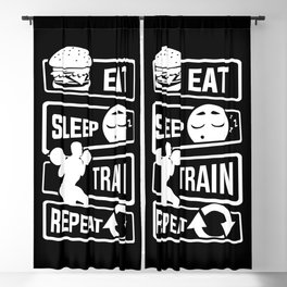 Eat Sleep Train Repeat - Fitness Bodybuilder Power Blackout Curtain