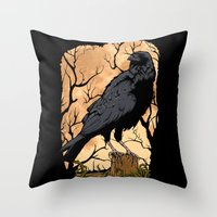 crow Throw Pillows featuring Crow by Murat Sünger