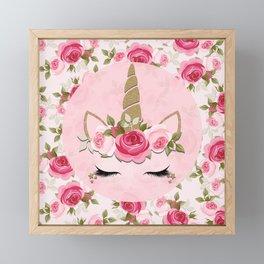 Unicorn Floral Roses Gold & Pink Framed Mini Art Print